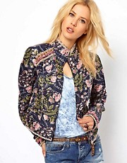 Free People Printed Jacket with Beaded Panels