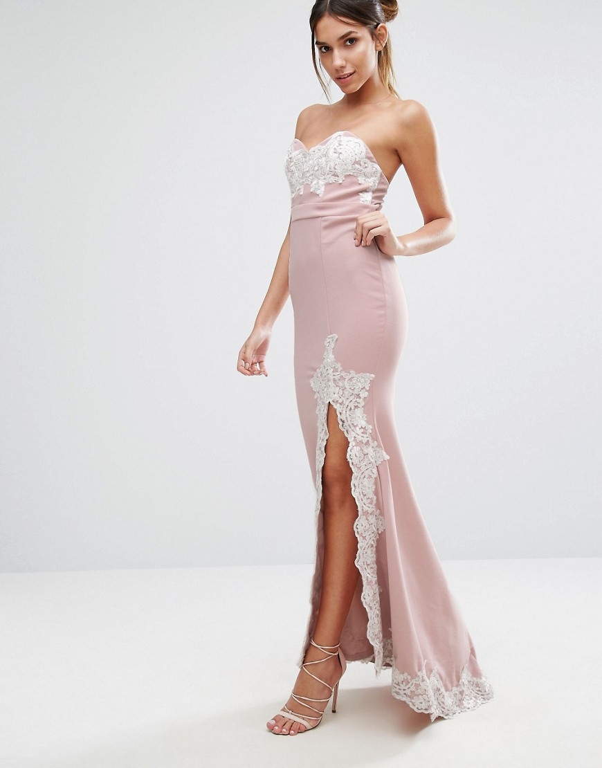 Love Triangle Lace Trim Bandeau Maxi Dress With Split - Pink