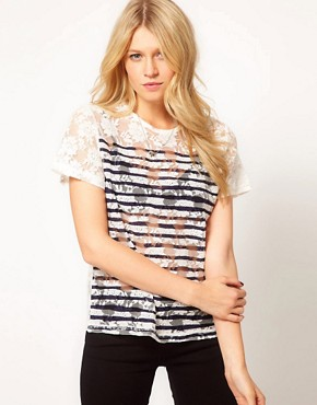 Image 1 ofASOS Oversize T-Shirt in Lace with Stripe