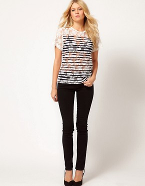 Image 4 ofASOS Oversize T-Shirt in Lace with Stripe