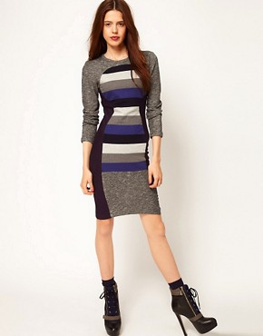 Image 4 ofASOS Africa Bodycon Dress with Striped Panel