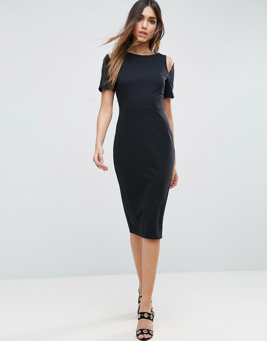 ASOS Midi Pencil Dress With Cut Out Shoulders - Black