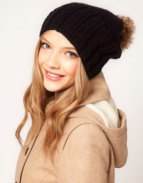ASOS Faux Fur Pom Boyfriend Beanie  :  gift faux fur beanie pom