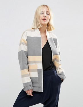 ASOS WHITE Stripe Bomber Jacket