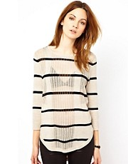 Warehouse Mesh Stripe Top