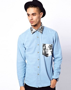 Image 1 ofReclaimed Vintage Denim Shirt with Aristocrat Collar and Pocket