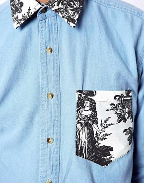Image 3 ofReclaimed Vintage Denim Shirt with Aristocrat Collar and Pocket