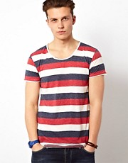 Solid T-Shirt With Three Color Stripe