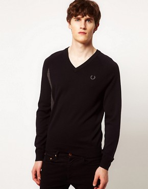 Image 1 ofFred Perry Laurel Wreath Jumper Seam Shift V Neck