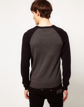 Image 2 ofFred Perry Laurel Wreath Jumper Seam Shift V Neck