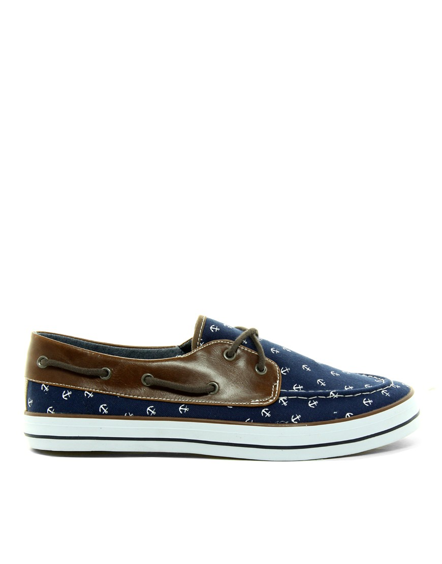Image 4 of ASOS Boat Shoes With Anchor Print