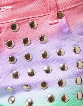 Image 3 ofReverse Rainbow Studded Denim Shorts