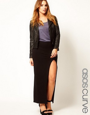 Image 1 ofASOS CURVE Maxi Skirt With Thigh Split