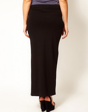 Image 2 ofASOS CURVE Maxi Skirt With Thigh Split