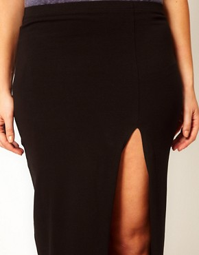Image 3 ofASOS CURVE Maxi Skirt With Thigh Split