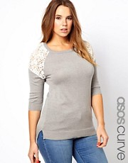 ASOS CURVE Sweater With Lace Inserts