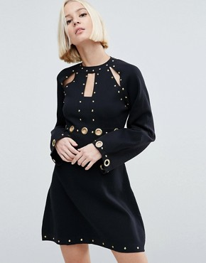 ASOS Babydoll Dress in Structured Knit with Eyelet Details