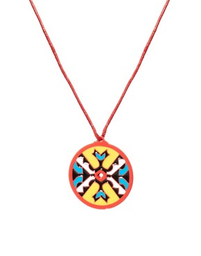Image 1 ofASOS Aztec Disc Pendant Necklace