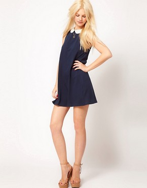 Image 4 ofASOS PETITE Swing Dress With Collar