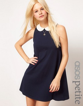 Image 1 ofASOS PETITE Swing Dress With Collar