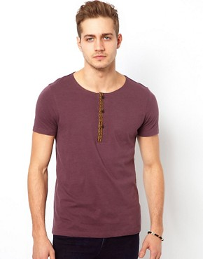 Image 1 ofASOS T-Shirt With Grandad Neck And Aztec Trim