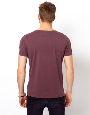 Image 2 ofASOS T-Shirt With Grandad Neck And Aztec Trim