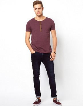Image 4 ofASOS T-Shirt With Grandad Neck And Aztec Trim