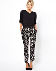 ASOS Pants with Elastic Waistband in Abstract Print