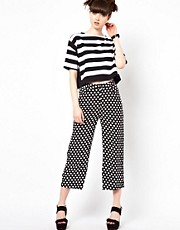 The WhitePepper Cropped Wide Leg Trouser