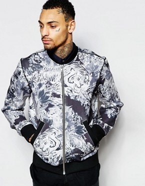Diesel Bomber Jacket S-Joe-Zips-AD Bonded All Over Tiger Floral Print In Black