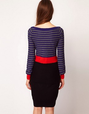 Image 2 ofSonia by Sonia Rykiel Knitted Dress in Cotton Cashmere with Intarsia Belt