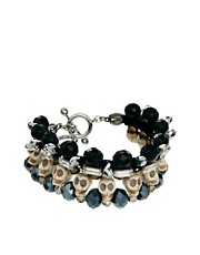Love Rocks Skull And Rhinestone Bracelet