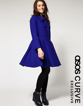 Image 1 ofASOS Curve Exclusive Pleated Swing Coat