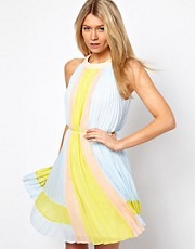 Ted Baker Pleated Dress in Icecream Colourblock