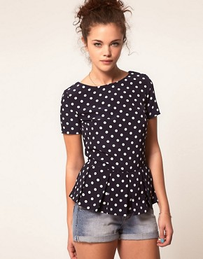 Image 1 ofA Wear Polka Dot Shell Top
