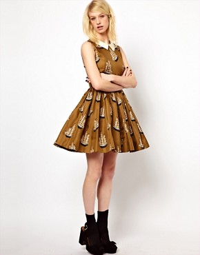 Image 4 ofOrla Kiely Dress in Around the World Print Silk Twill
