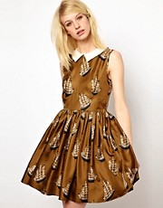 Orla Kiely Dress in Around the World Print Silk Twill