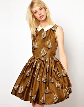 Image 1 ofOrla Kiely Dress in Around the World Print Silk Twill