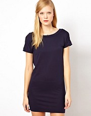 Sessun V Back Jersey Mini Dress with Button Detail