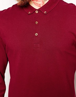 Image 3 ofASOS Polo Shirt With Long Sleeves