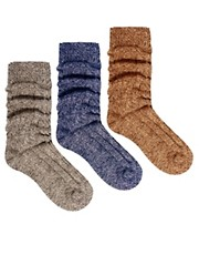 ASOS 3 Pack Cable Knit Boot Socks