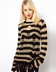 Tripp NYC Ragged Striped Sweater