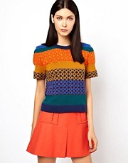 Ostwald Helgason Link Knit Lambswool Sweater with Striped Bands