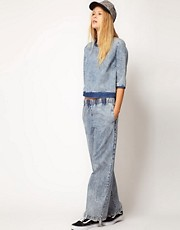 ASOS WHITE Wide Leg Denim Trousers in Acid Wash
