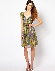 Traffic People Printed Wrap Detail Dress With Plait Belt
