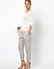 Selected Norma Printed Trousers with Sporty Draw Cord