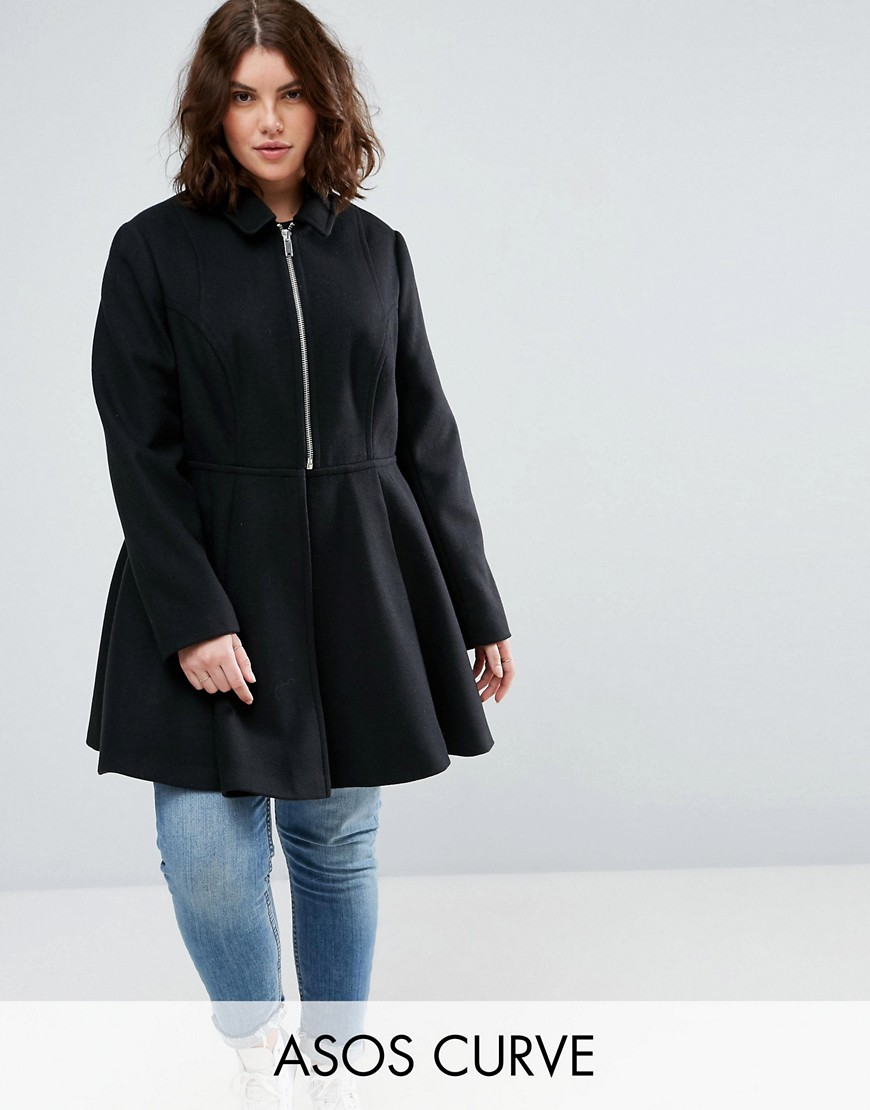 ASOS CURVE Swing Coat with Full Skirt - Black
