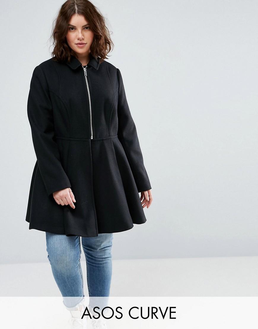ASOS CURVE Swing Coat with Full Skirt - Black