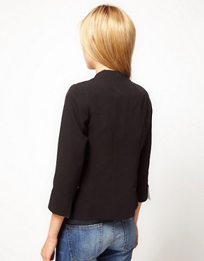 Image 2 ofASOS PETITE Exclusive Collarless Tux Blazer