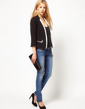 Image 4 ofASOS PETITE Exclusive Collarless Tux Blazer